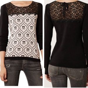Anthropologie knitted and knotted lace sweater
